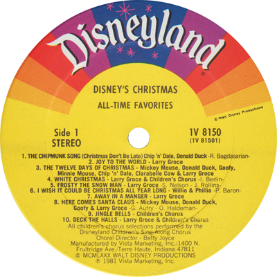 Disneylandrecords Com 1v 8150 Disney S Christmas All